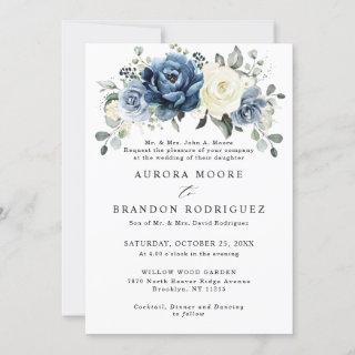 Dusty Blue Navy Champagne Ivory Floral Wedding Inv