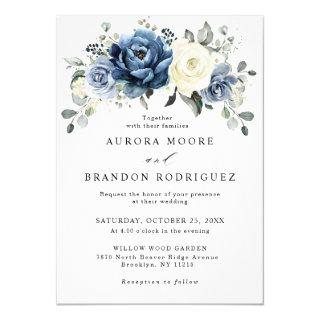 Dusty Blue Navy Champagne Ivory Floral Wedding Invitations