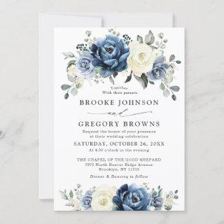 Dusty Blue Navy Champagne Ivory Floral Wedding