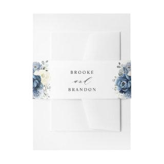 Dusty Blue Navy Champagne Ivory Floral Wedding  Belly Band