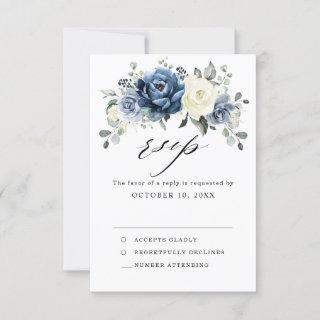 Dusty Blue Navy Champagne Ivory Floral Wedding RSVP Card