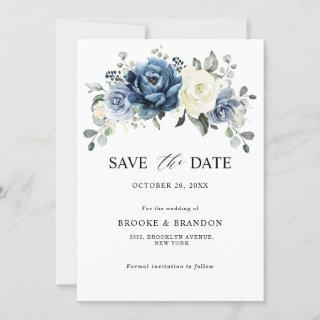 Dusty Blue Navy Champagne Ivory Floral Wedding Save The Date