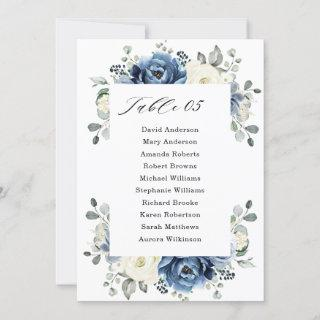 Dusty Blue Navy Champagne Ivory Seating Chart card