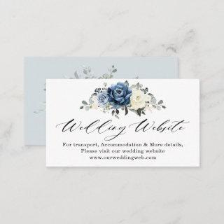 Dusty Blue Navy Champagne Ivory Wedding Website Enclosure Card