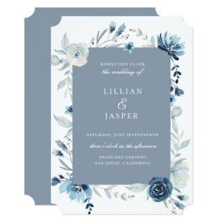 Dusty Blue Navy Floral Frame Wedding Invitation