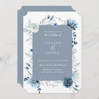Dusty Blue Navy Floral Frame Wedding Invitations