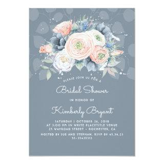 Dusty Blue Peach and Pink Floral Bridal Shower Invitations