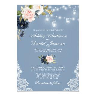 Dusty Blue Pink Floral Lace Lights Wedding Invitations