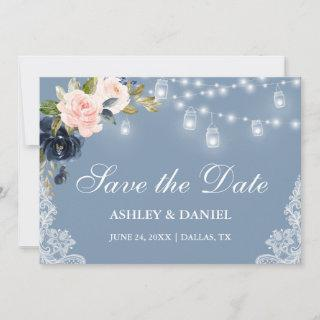 Dusty Blue Pink Floral Lights Lace Save The Date