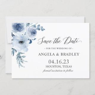 Dusty Blue Romantic Boho Floral Wedding Save The Date