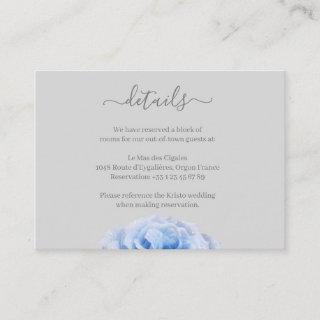 Dusty Blue Rose Gray Floral Wedding Hotel Detail Enclosure Card