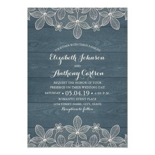 Dusty Blue Rustic Wood Lace and Pearls Wedding Invitations