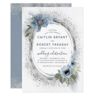 Dusty Blue & Silver Glitter Floral Rustic Wedding Invitation