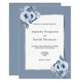 Dusty blue silver watercolored florals wedding invitation