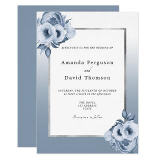 Dusty blue silver watercolored florals wedding Invitations