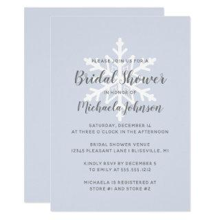 Dusty Blue Snowflake Winter Bridal Shower Invitation