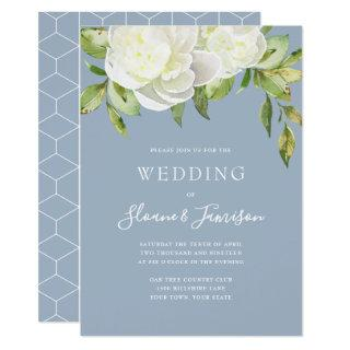 Dusty Blue Spring Floral Peony Wedding Invitations