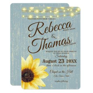 Dusty Blue Sunflower and Lights Rustic Wedding Invitation