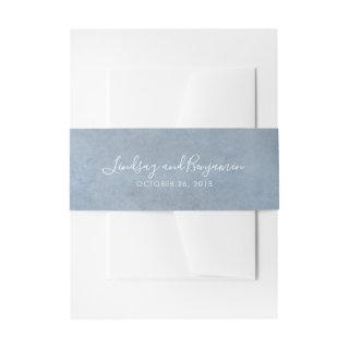Dusty Blue Texture Modern Wedding Invitation Belly Band