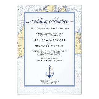 Dusty Blue Traditional Nautical Event / Wedding Invitations