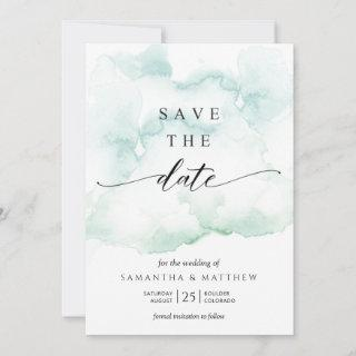 Dusty Blue, Turquoise and Green Watercolor Save The Date