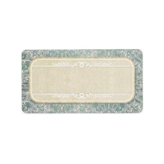 Dusty Blue Vintage French Lace Parchement Wedding Label
