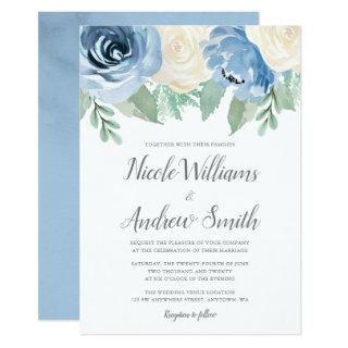 Dusty Blue Watercolor Floral Wedding Invitations