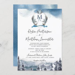 Dusty Blue Watercolor Mountains and Crest, Wedding Invitation