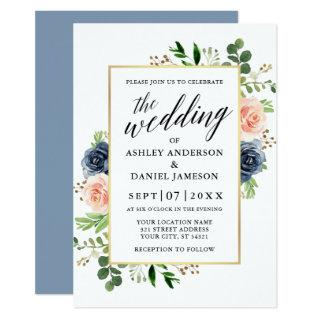 Dusty Blue Watercolor Roses Calligraphy Wedding Invitations