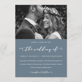 Dusty Blue Wedding Calligraphy and Photo Invitations