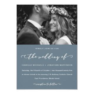 Dusty Blue Wedding Calligraphy and Photo Invitation