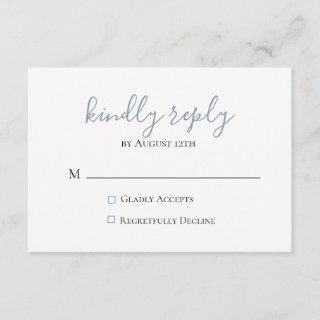 Dusty Blue Wedding RSVP Card