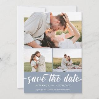 Dusty Blue White Elegant Bold Script Photo Collage Save The Date