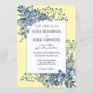 Dusty Blue, Yellow Floral Watercolor Art Wedding Invitations