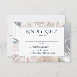 Dusty Floral Frame | Soft Pastel Blue Cream Pink RSVP Card