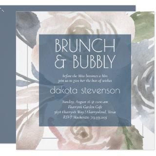 Dusty Floral | Smoky Pastel Bubbly Brunch Shower Invitation