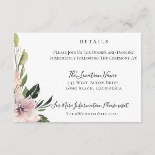 Dusty Mauve Botanical Wedding Details Invitation