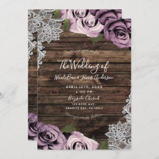 Dusty Mauve Floral Roses Rustic Wood Lace Wedding Invitation