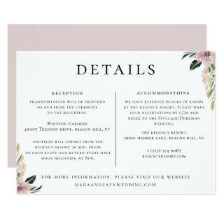 Dusty Mauve Floral Wedding Details Information Invitation