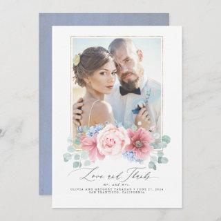 Dusty Pink and Dusty Blue Floral Wedding Thank You Invitations