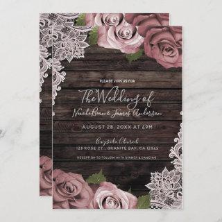 Dusty Pink Floral Roses Rustic Wood & Lace Wedding Invitations