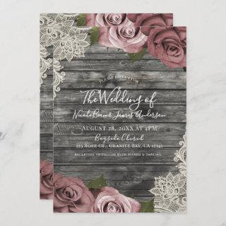 Dusty Pink Roses Grey Rustic Wood Lace Wedding Invitations