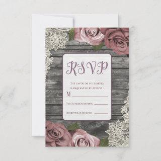 Dusty Pink Roses Grey Rustic Wood Lace Wedding RSVP Card