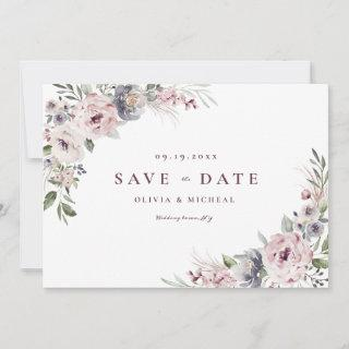 Dusty pink rustic boho floral save the date