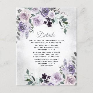 Dusty Purple and Silver Gray Floral Rustic Wedding Enclosure Card