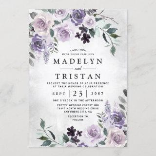 Dusty Purple and Silver Gray Floral Rustic Wedding Invitations