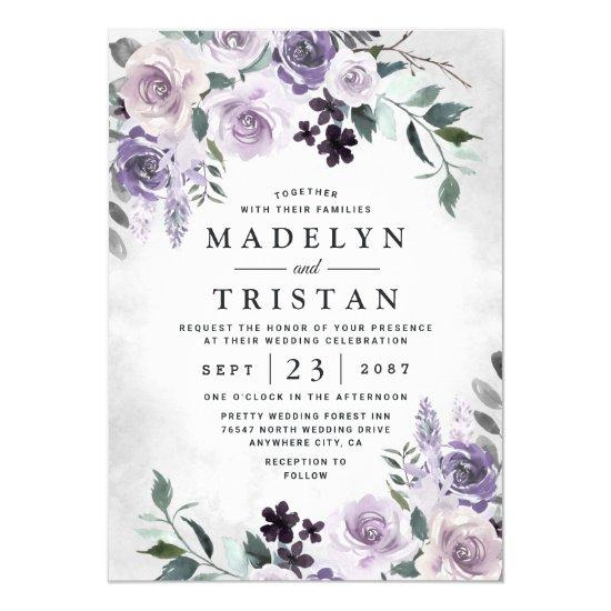 Dusty Purple and Silver Gray Floral Rustic Wedding Invitation