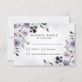 Dusty Purple and Silver Gray Floral Rustic Wedding RSVP Card