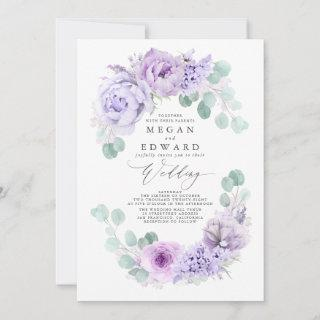 Dusty Purple Floral Elegant Boho Wedding Invitation