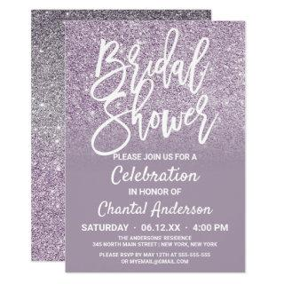 Dusty Purple Gray Faux Glitter Ombre Bridal Shower Invitation